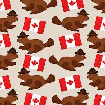 カナダの旗、ビーバー、帽子、ベクトル、イラスト