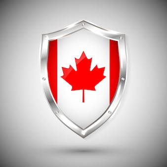 Canada flag on metal shiny shield . collection of flags on shield against white background. abstract isolated object.