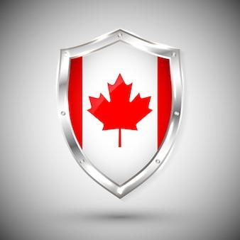 金属の光沢のある盾のカナダの旗。白い背景の上の盾の旗のコレクション。抽象分離オブジェクト。