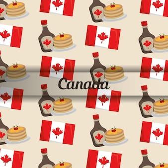 カナダの旗パンケーキとメープルシロップのパターン