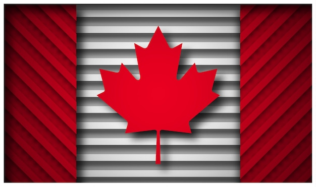 Canada flag in paper cut style