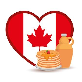 Canada flag with heart shape vector illustration design