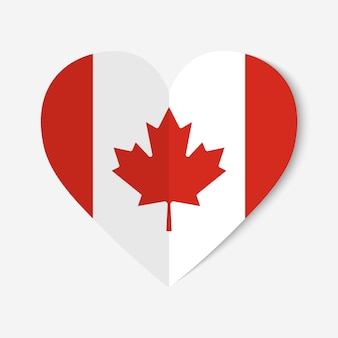 Canada flag with origami style heart