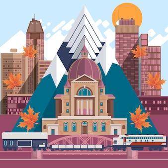 Канада плоские иконки дизайн концепции путешествия. фасады традиционных домов. векторы