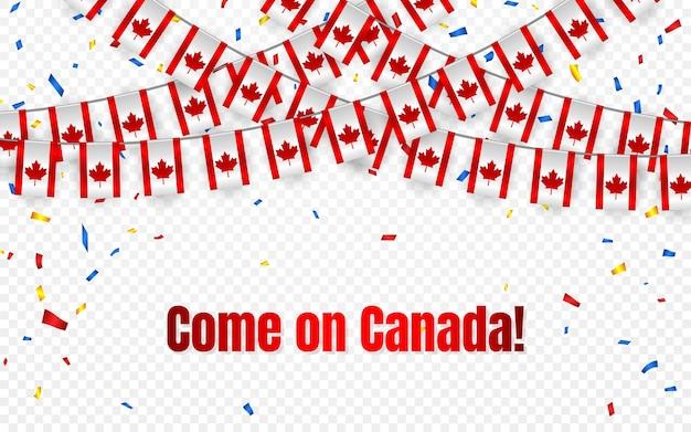 透明な背景に紙吹雪とカナダの花輪の旗、お祝いのテンプレートバナーの旗布を掛ける、