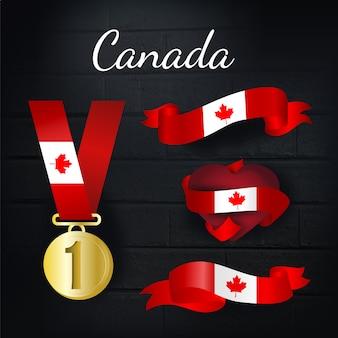 カナダの金メダルとリボンのコレクション 無料ベクター