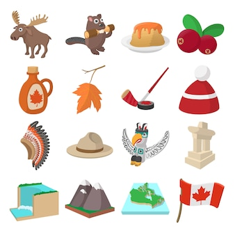 Canada icons in cartoon style for web and mobile devices