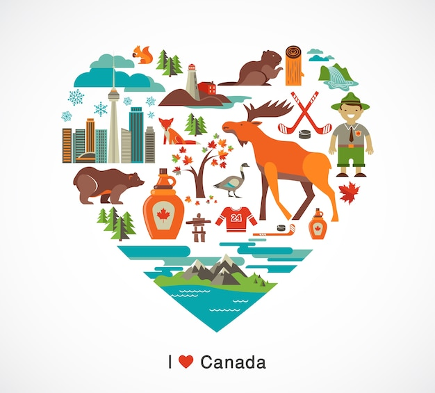 Canada love - heart with many cliparts and illustrations