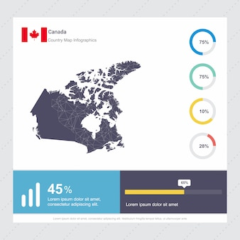 Canada map & flag infographics template