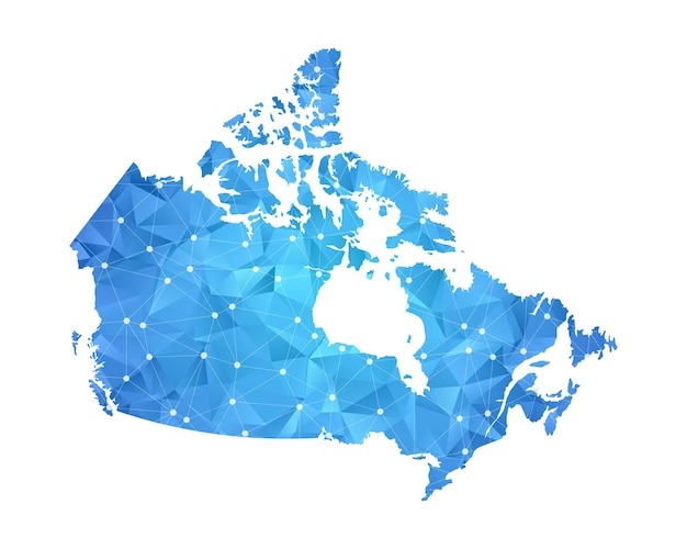 Canada map line dots polygonal abstract geometric.