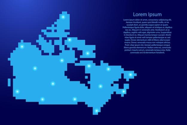Силуэт карты канады из синих квадратных пикселей и светящихся звезд. векторная иллюстрация.