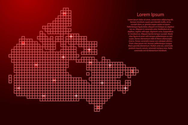 Силуэт карты канады из красных квадратов структуры мозаики и светящихся звезд. векторная иллюстрация.