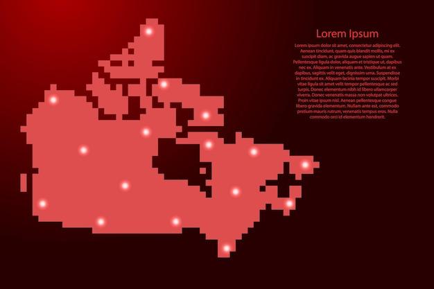 Силуэт карты канады от красных квадратных пикселей и светящихся звезд. векторная иллюстрация.
