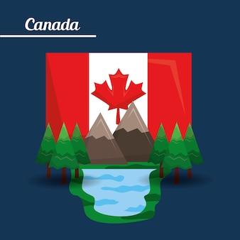 Сосна и флаг горной сосны канады