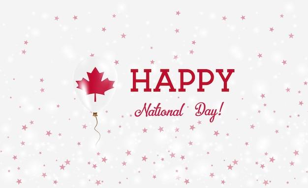 캐나다 국경일 애국 포스터. 캐나다 국기의 색상에 고무 풍선을 비행. 풍선, 색종이 조각, 별, 보케, 반짝임이 있는 캐나다 국경일 배경.