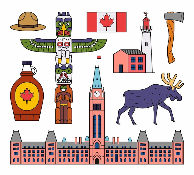 Of canada. outline icon set. white background. flag, indian totem, hat, lidhthouse, ax, maple syrup, moose, parliament.