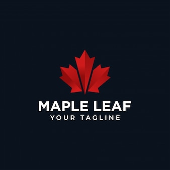 Canada red maple leaf logo design template