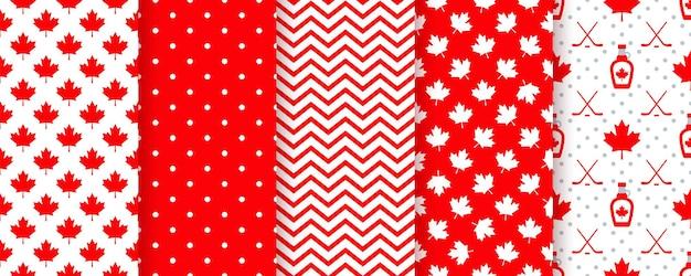 カナダのシームレスなパターン。ベクトルイラスト。カエデの葉で幸せなカナダの日のテクスチャ。
