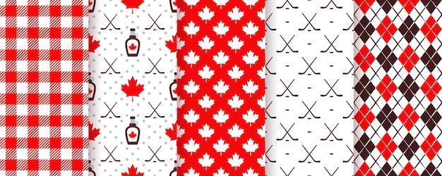 캐나다 완벽 한 패턴입니다. 벡터 일러스트 레이 션. 메이플 리프와 해피 캐나다 데이 텍스처입니다.