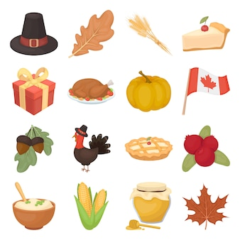 Canada thanksgiving day cartoon elements in set collection for design.