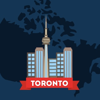 Canada toronto city on country map blue background