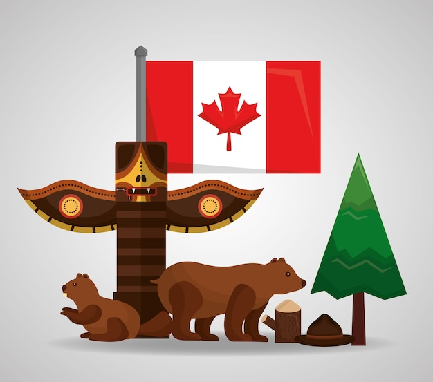 Canada totem bear beaver forest pine flag