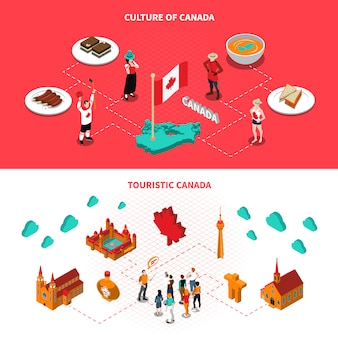 Canada touristic attractions horizontal isometric banners