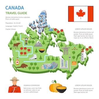 カナダ旅行ガイドフラットマップポスター
