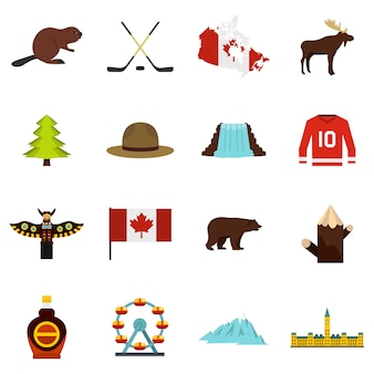 Canada travel icons set in flat style