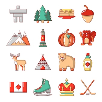 Canada travel icons set