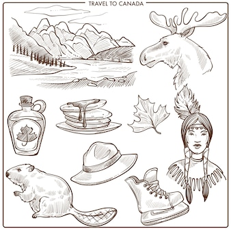 Канада путешествия туризм достопримечательности и символы культуры эскиз.