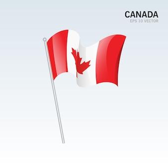 グレーに分離された旗を振っているカナダ