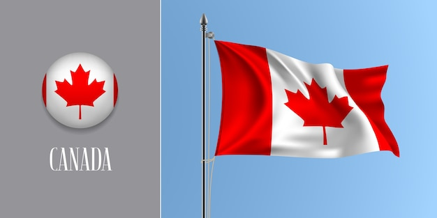 Канада развевающийся флаг на флагштоке и круглый значок, макет полос и кленовый лист канадского флага и круглая кнопка