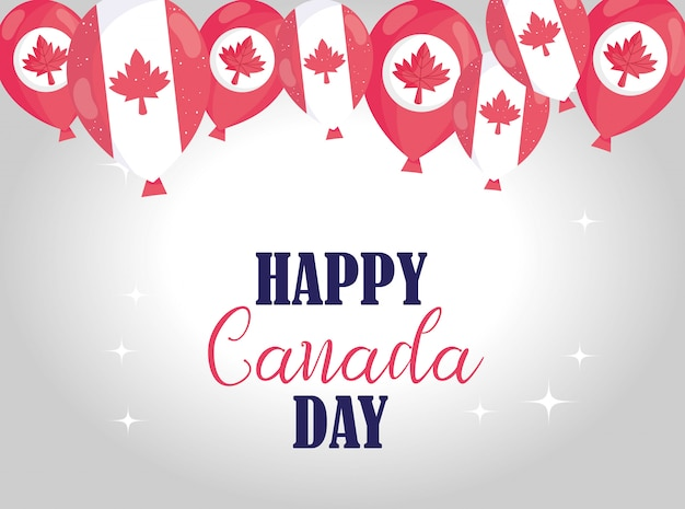 Canadian balloons of happy canada day design