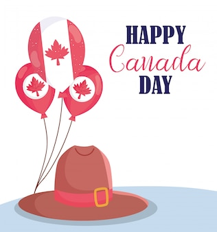 Canadian balloons and hat of happy canada day design