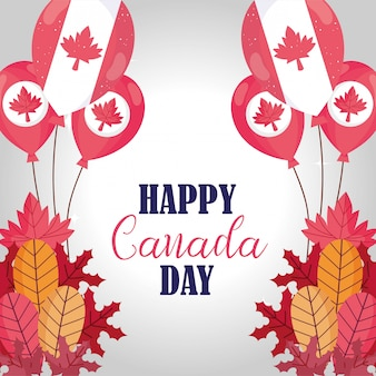 Canadian balloons and leaves of happy canada day design