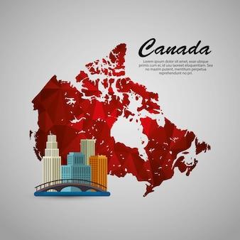 カナダの街並みの風景と地図のイラストデザイン