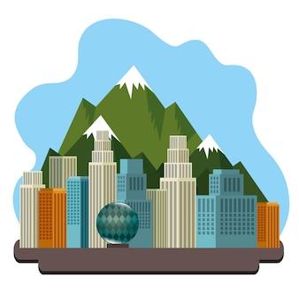 カナダの都市風景のアイコンのベクトル図のデザイン