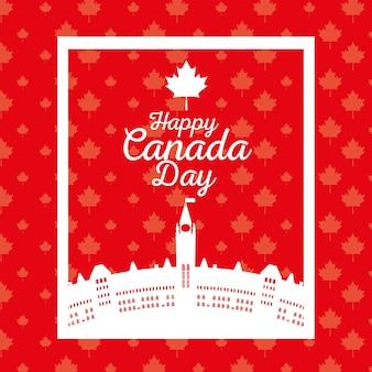 Canadian cityscape scene icon vector illustration design