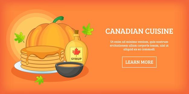 Canadian cuisine horizontal banner, cartoon style