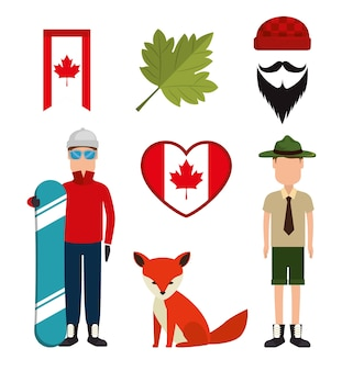 Canadian culture set icons vector illustration design