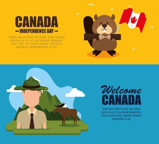 カナダの文化はアイコンのイラストのデザインを設定 Premiumベクター