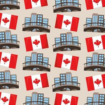 カナダの旗とモントリオールの都市の背景