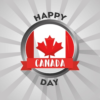 Canadian flag in button rays background