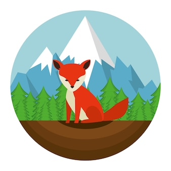 カナダのキツネのシーンのアイコンのベクトル図のデザイン