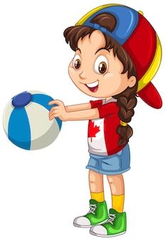 カラーボールを保持しているカナダの女の子