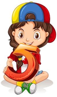 数学番号5を保持しているキャップを着ているカナダ人の女の子