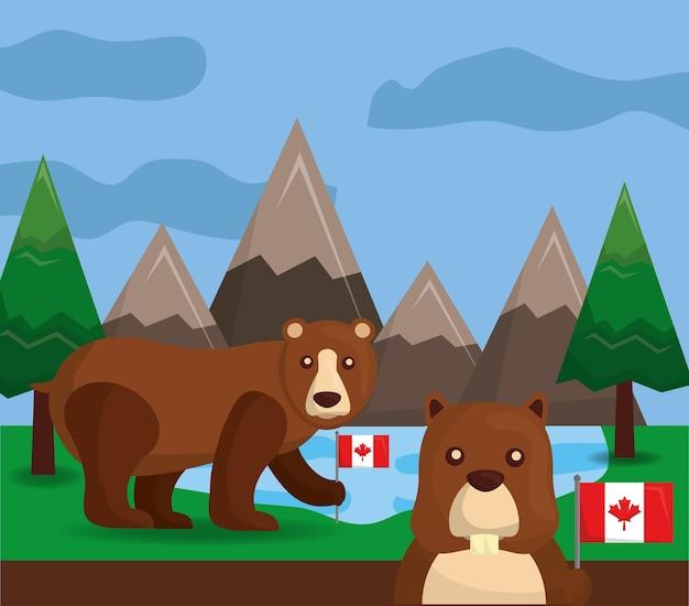 Канадский гризли медведь бобер флаг лес пейзаж