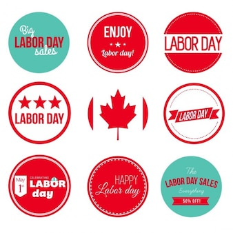 Canadian labor day labels and badges