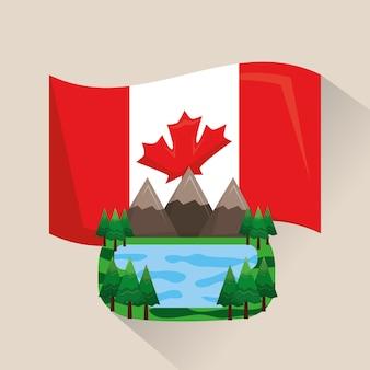 Канадский пейзаж горы озеро и флаг